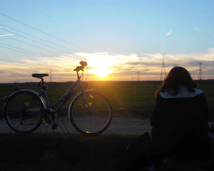 Bicicleta puesta de sol