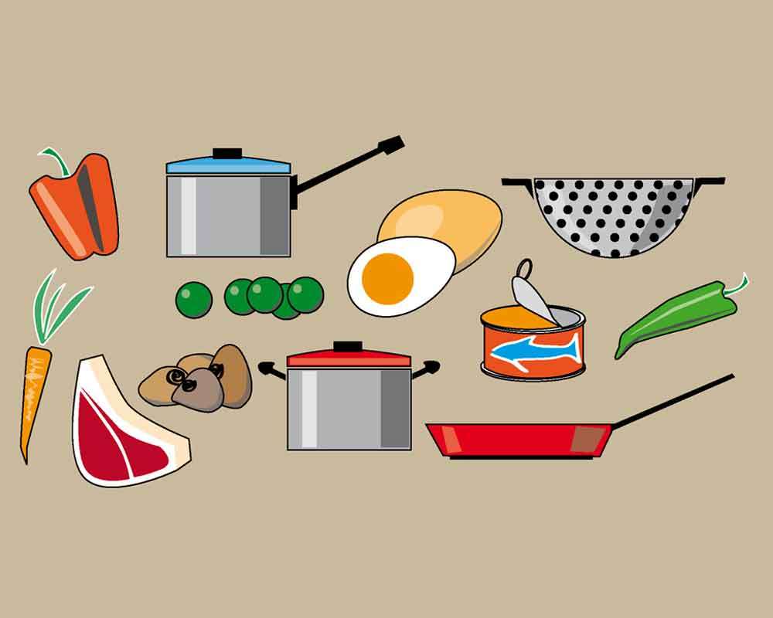 Utensilios y alimentos