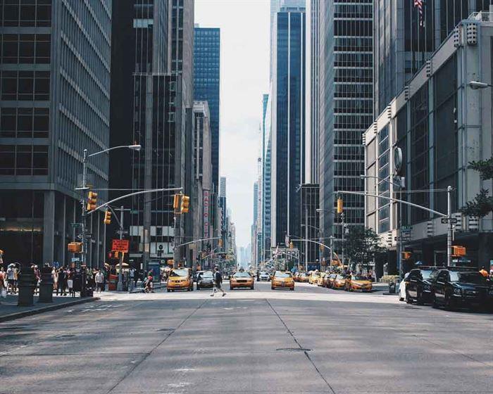 Nueva York calle y taxis