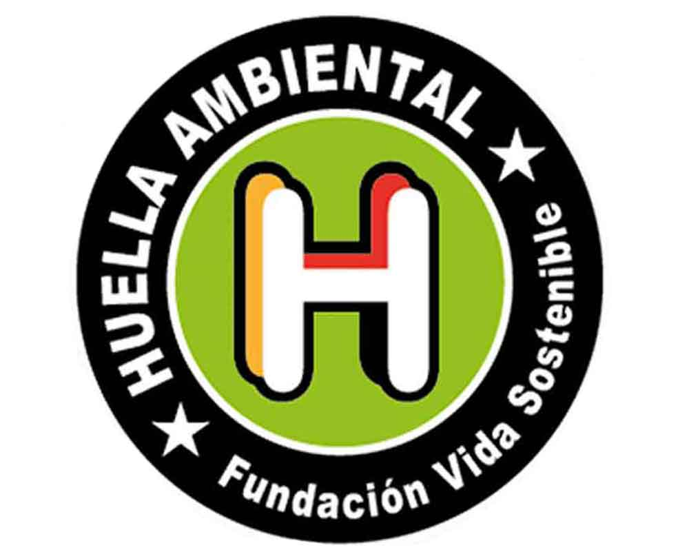 Sello de huella ambiental logo blanco