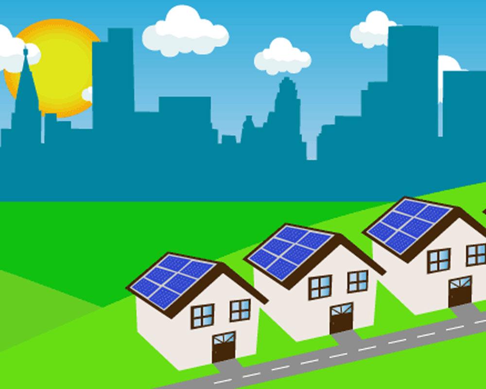 Paneles solares en techos de viviendas