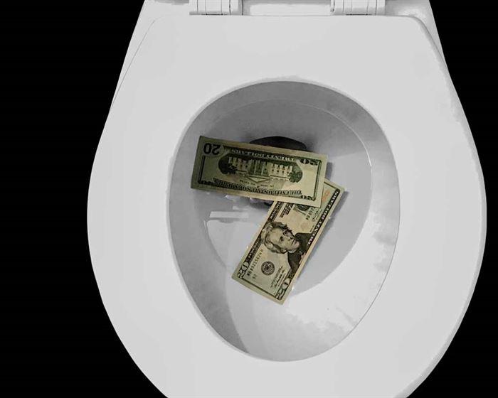 Inodoro con dinero