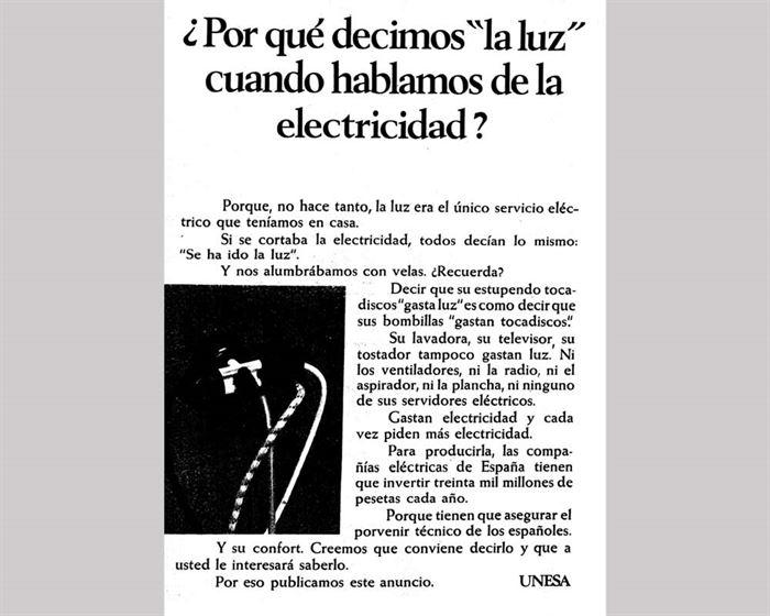 Cartel electricidad 1960
