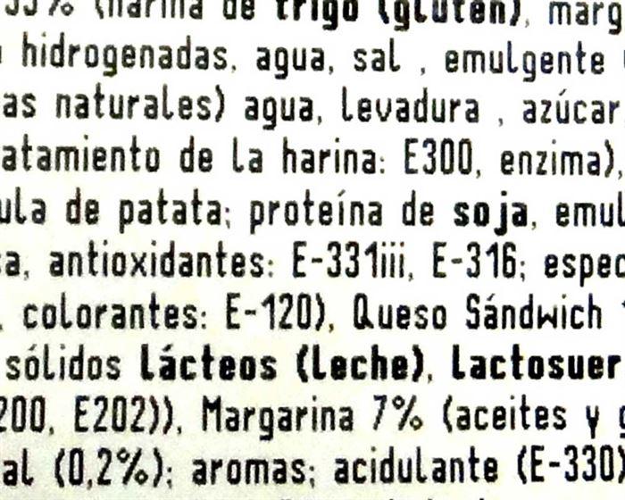 Etiqueta alimentos procesados